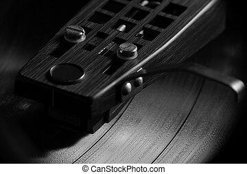 Vinyl record playing in B&W II