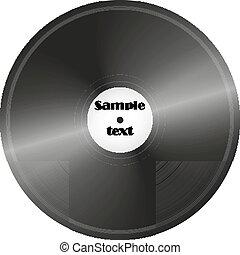Vinyl record, retro music disc background vector