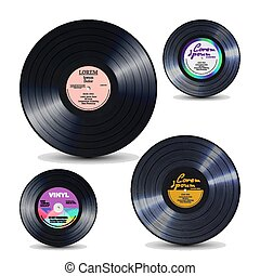 Vinyl Record Set Isolated On White. Realistic Disc Mock Up. Rerto Template. Vector Illustration