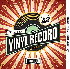 Vinyl record shop retro sign design. Promotional poster idea...