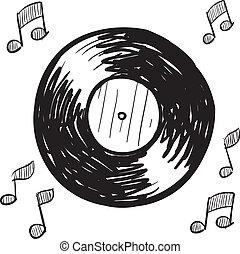 Vinyl record sketch - Doodle style vinyl record illustration...