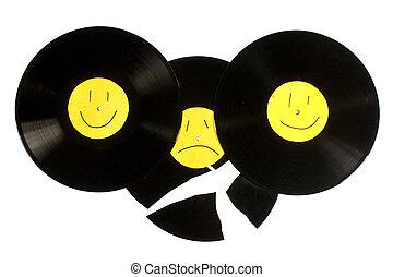 Vinyl record - Broken vinyl record. isolated on white...