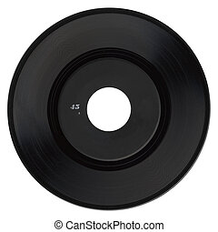 Vinyl record with black label isolated over white background