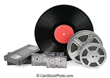 vinyl record, video and audio cassettes isolated on white background