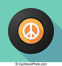 Vinyl record with a peace sign