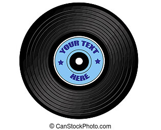 vinyl record with blue label, isolated on white, vector...