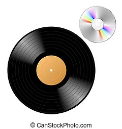 Vector illustration of vinyl record with cd