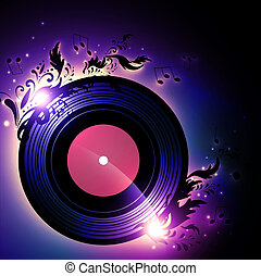 vinyl record with blank red label and floral music decoration over white background