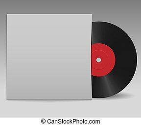 Vinyl record with red label and white cover for your design