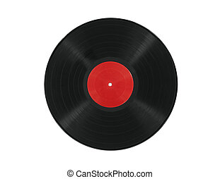 Vinyl Record with Red Label