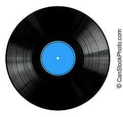 Vinyl 33rpm record with red label. With clipping path.