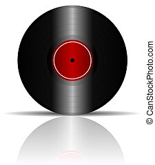 Vinyl Record with Reflection - Illustration of a vinyl...