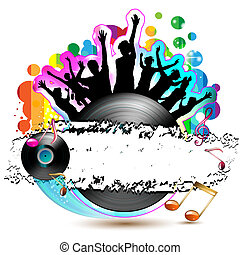 Vinyl record with silhouettes - Dancing silhouettes with...