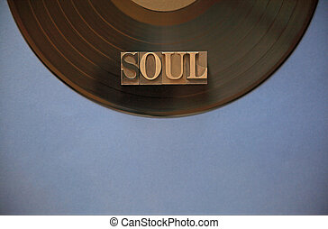 Vinyl record with soul word