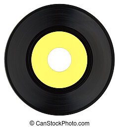 Vinyl record with yellow label