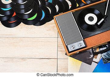 Vinyl records and Gramophone