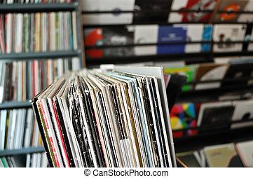 vinyl records at record store