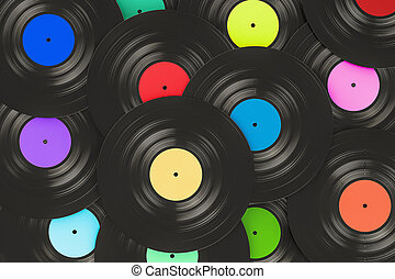 Vinyl records background, 3D rendering