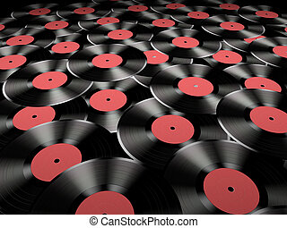 Many vinyl records