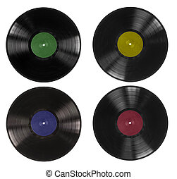 Vinyl records on white