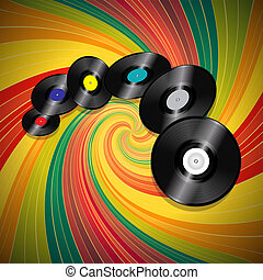 Vinyl Records Flying Over Vintage Swirl Background