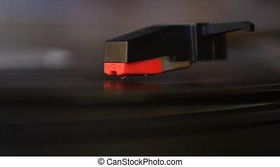 Vinyl rotating on record player