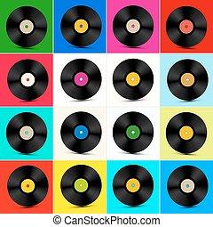 Vinyl Set. Retro Colorful LP Disc. Vinyl Record Illustration.