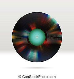 vinyl skiva, 12, tum, lp, rekord, med, färgrik, fåror, glänsande, återstående tid spåret
