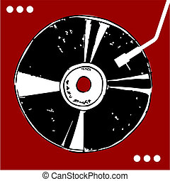 vinyl skiva, på, röd, bakgrund.