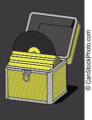 Vinyl storage case, vector illustration, outline, bold lines