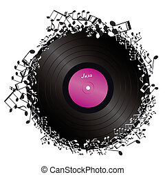 vinyl surrounded by music notes on white background