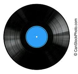 vinyl teckna uppe, med, röd, etikett