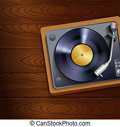 vinyl teckna uppe, spelare, på, trä, bakgrund