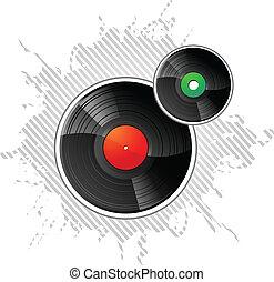 vinyl tecknar uppe, lp, disks, vektor