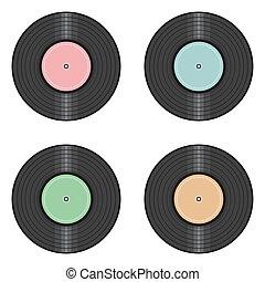 vinyl tecknar uppe, vita, bakgrund