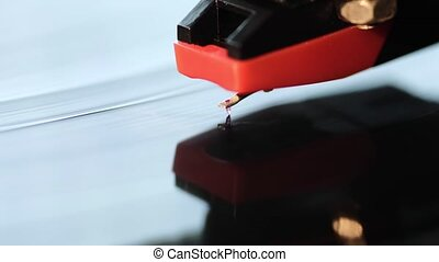 vinyl turntable macro - macro footage of vintage playing...