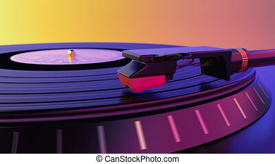 Vinyl record disc spinning on the classic gramophone player against colorful background. Vinil turntable plays the popular soundtrack of the electronic disco music from plate, loopable 3d animation.