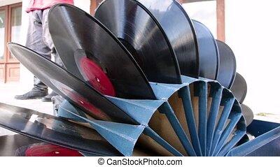 vinyle enregistre, ensemble, plié, stand., carton