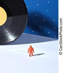 vinyle, extérieur, duotone, noir, blanc, agaimst, astronaute, enregistrement, fond, espace, bleu