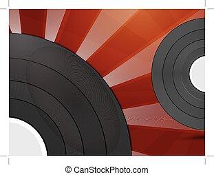 vinyle, fond, record., résumé
