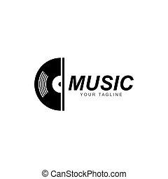 vinyle, icône, disque, enregistrement, musique, vecteur, logo, illustration