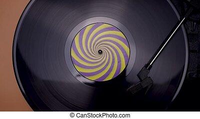 vinyle, vieux, vendange, fin, aiguille, musique, lent, vue, tourner, sommet, stylus, enregistrement, noir, brun, platine, player., haut., concept., motion., arrière-plan., retro