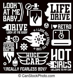 vinyle, voiture, autocollants