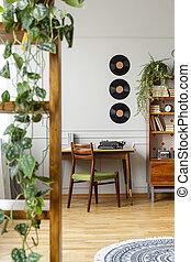 vinyls, 이상, 책상, 와, 타이프라이터, 에서, 유행, 포도 수확, 아파트