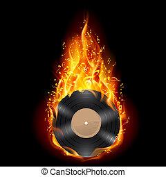 vinylschijf, in, vlammen, van, fire.