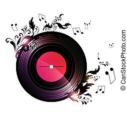 vinylverslag, met, floral, muziek, versiering