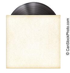 vinylverslag, schijf, lp, in, papier, mouw, vrijstaand