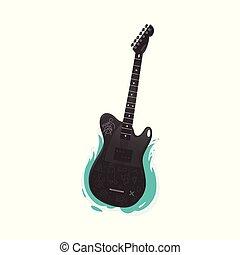 violão elétrico, instrumento, pretas, música rocha