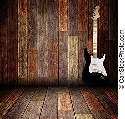 violão elétrico, ligado, a, madeira, sala