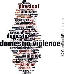violência doméstica, palavra, nuvem